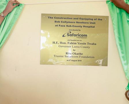 Handover of a New Born unit to Faza Sub-County Hospital in Lamu County